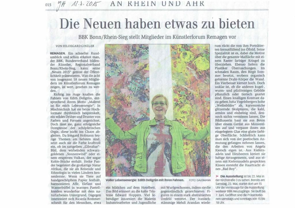 """Ausstellung """"Neue"""", BBK Bonn Rhein/Sieg, Beitrag im Bonner Generalanzeiger"""
