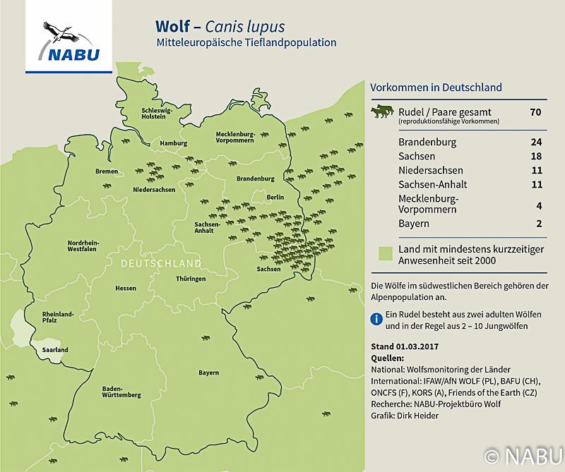 Verbreitungsgebiet Wölfe, Deutschland
