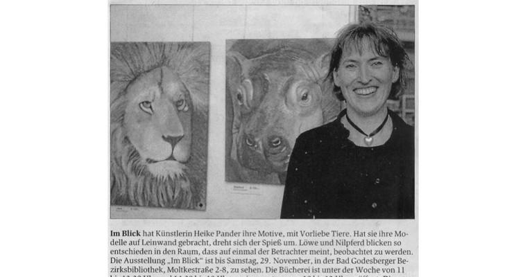 "Beitrag Bonner Generalanzeiger, Ausstellung ""Im Blick"", Stadtbibliothek Bad Godesberg"