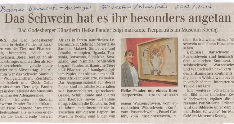 """Ausstellung """"Echte Schweine"""" im Museum Koenig, Bonner Generalanzeiger, 31.12.2013"""