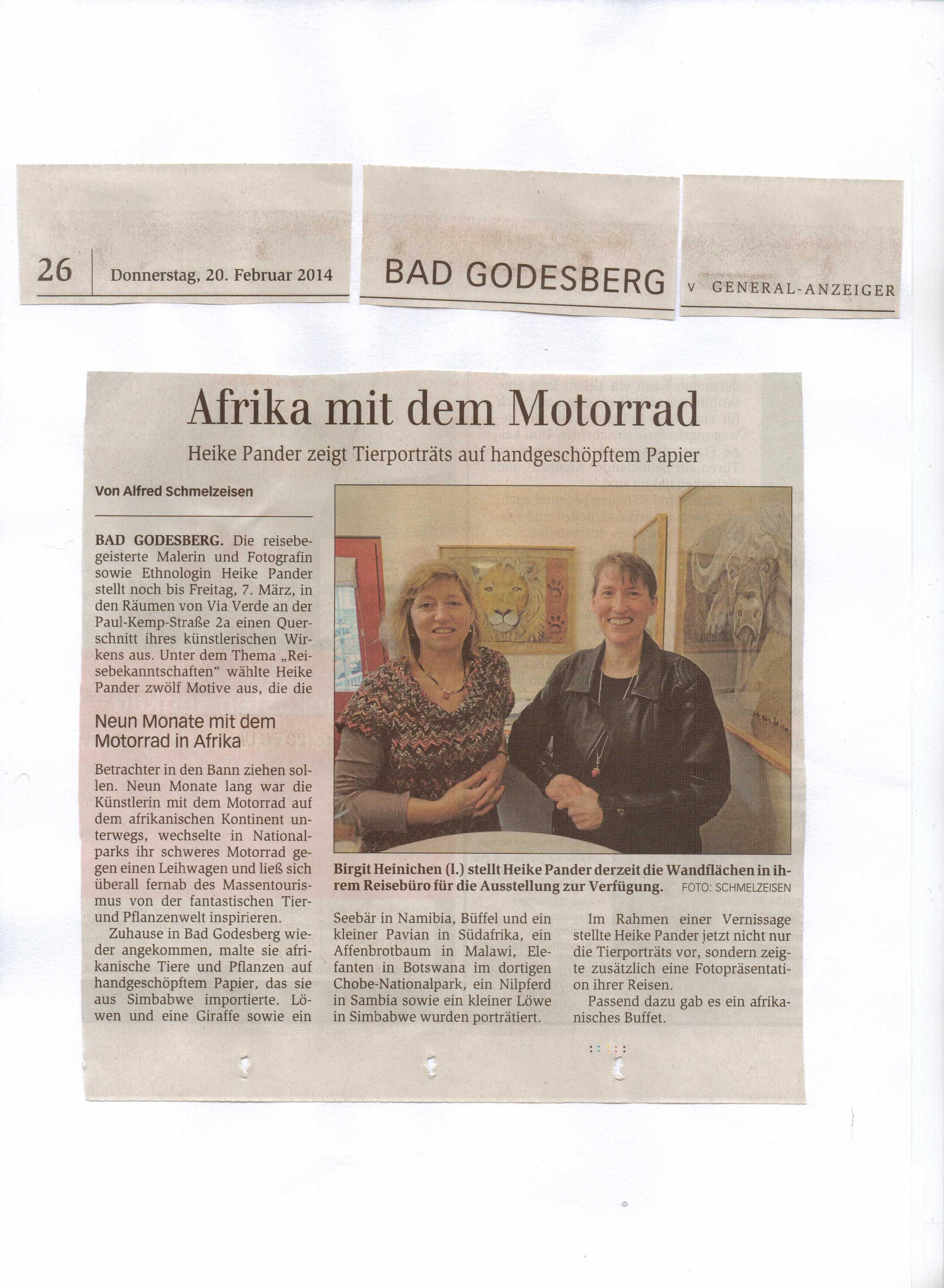 Afrika mit dem Motorrad, Vernissage, Reisebüro Via Verde, Beitrag im Bonner Generalanzeiger