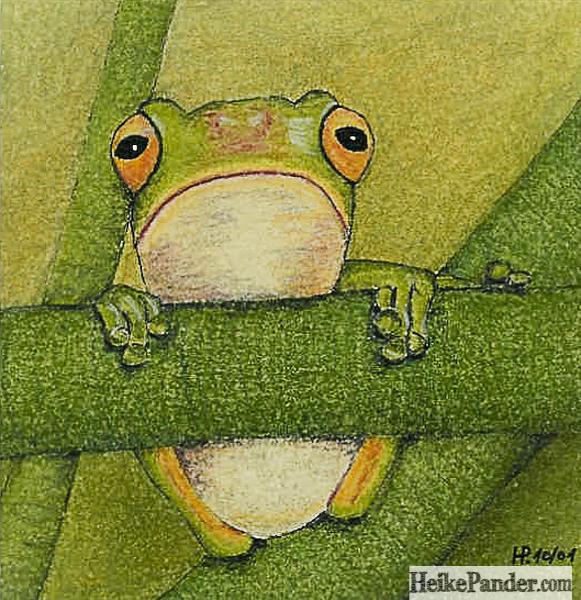 Froschhänger, Pastellkreiden, Heike Pander