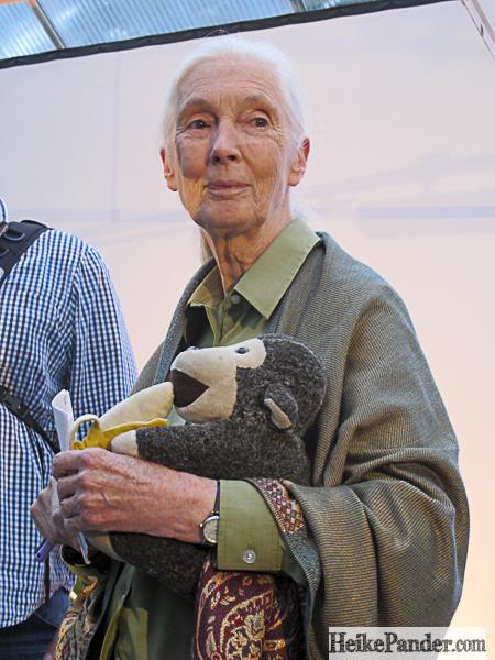 Jane Goodall mit Mr. H, Botanischer Garten, Berlin
