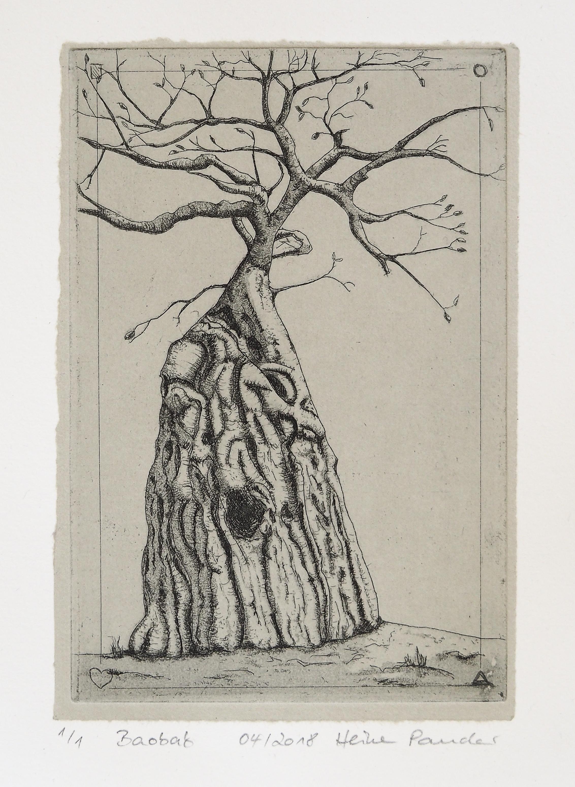 Baobab, Aquatinta, Strichätzung, Heike Pander