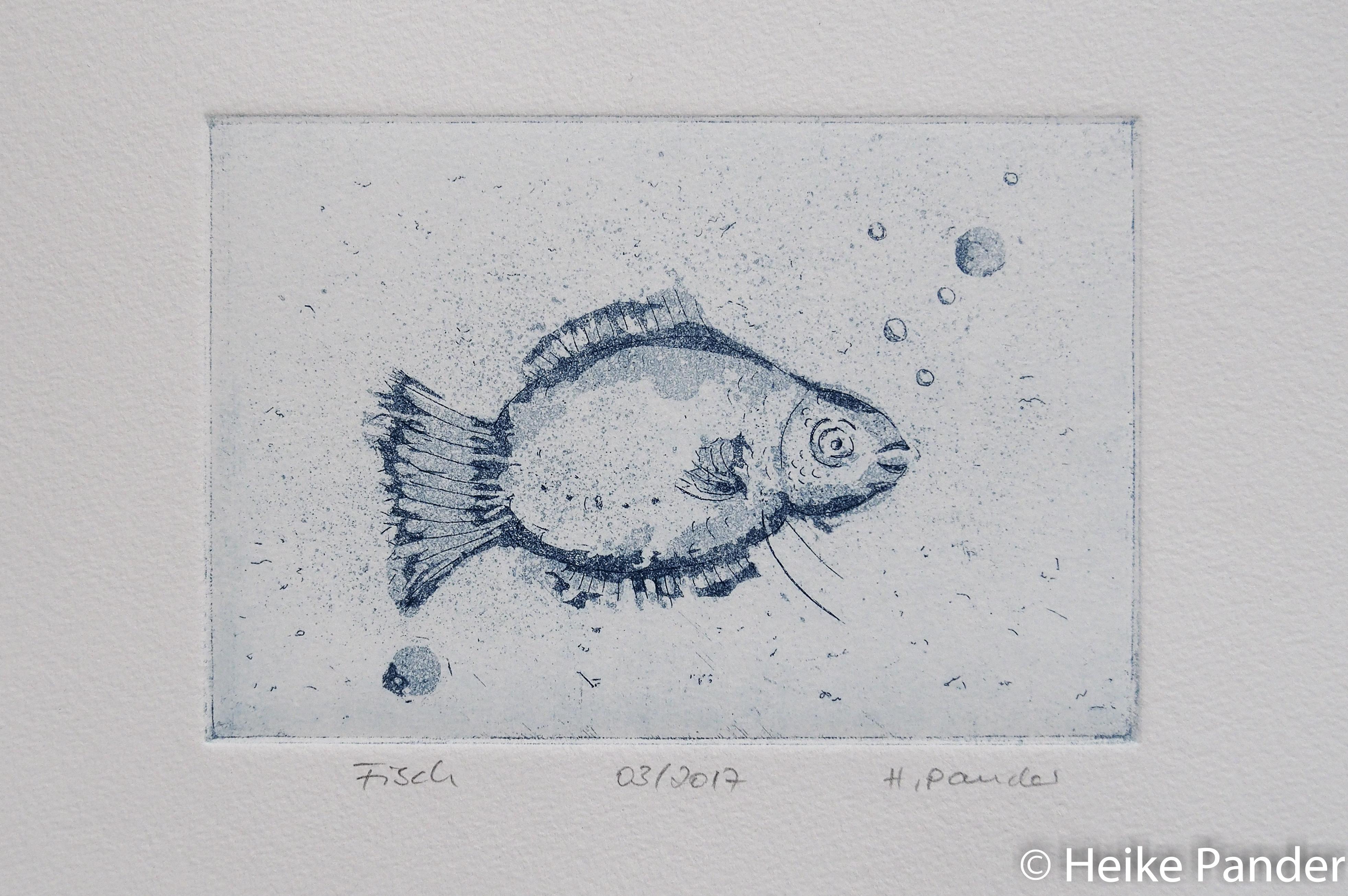 Kleiner Fisch, Zuckertusche, Aquatinta, Strichätzung, Heike Pander