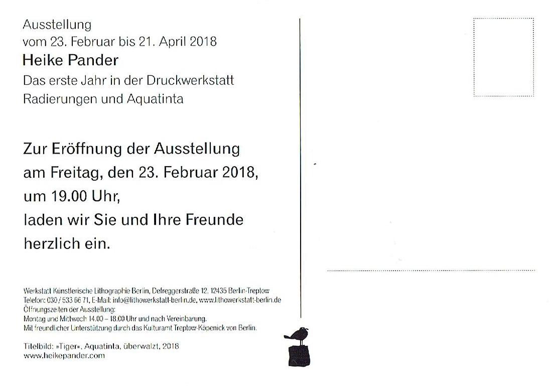 """Einladung """"Das Erste Jahr"""", Werkstatt Künstlerische Lithographie, Berlin"""