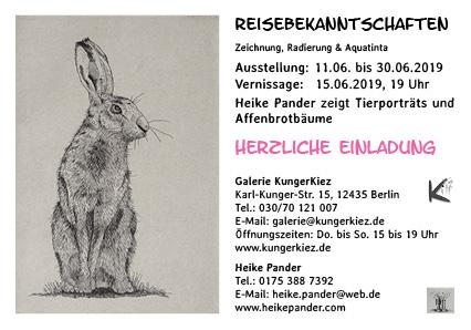 """Einladung zur Ausstellung """"Reisebekanntschaften"""", Galerie KungerKiez, 2019"""