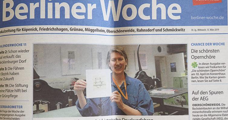 Berliner Woche, Printausgabe 13. März 2019, Berichterstattung anlässlich des Tags der Druckkunst
