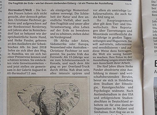 """Berichterstattung in der Reinickendorfer Allgemeinen Zeitung anlässlich meiner Ausstellung """"nah & fern"""" mit Christiane Flechtner in der Galerie Aagaard, Alt-Hermsdorf"""